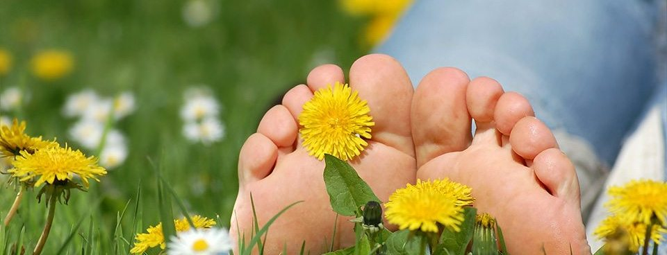 Feet soaking up sunshine as they sit in grass and flowers