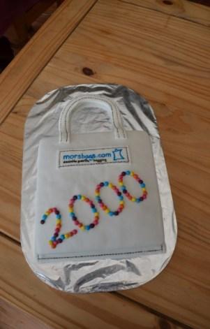 Cake to celebrate making 2000 bags
