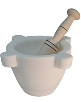 Mortero de mármol blanco Macael