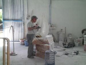 Escultura en proceso de elaboración