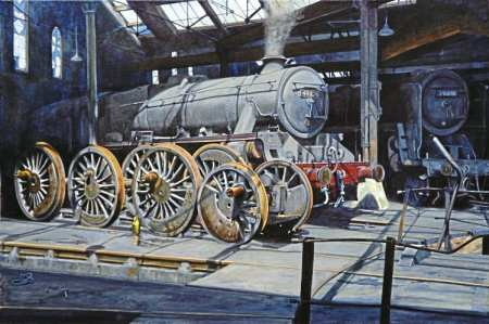 Wheels within wheels: LMS 'Black Five' 4-6-0 No. 44824 is at rest in the Leeds Holbeck shed roundhouse in this painting by Guild of Railway Artists associate member Christine Pulham, with Britannia Pacific No. 70001 Lord Hurcomb in the shadows. Chris has put forward the work, with two other paintings, for possible selection for inclusion in the guild's Railart 2016 exhibition at the Severn Valley Railway museum, which runs from August 27-October 2.