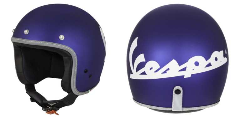 purple vespa helmet