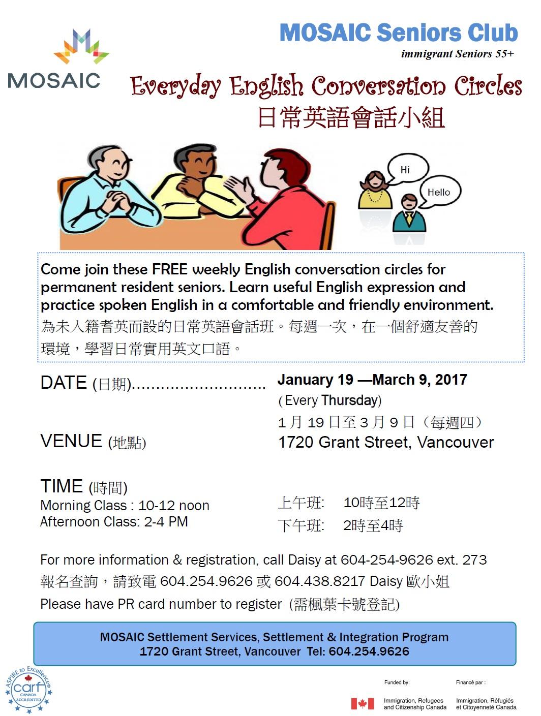 Everyday English Conversation Circle Seniors 55 Morning