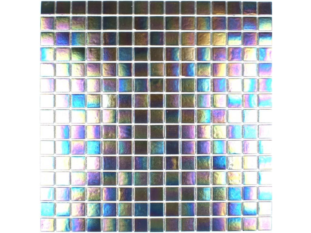 iridium iridescent glass mosaic pewter