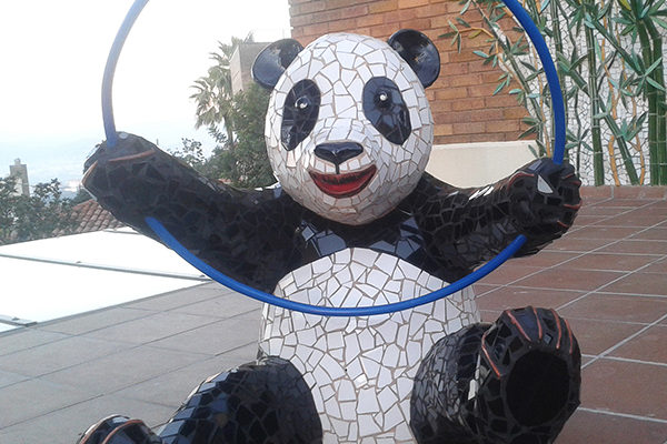 Panda World mural, 12m x 3'5m, Panda playing with a hoop sculpture detail, La Miranda School, Barcelona, 2015.