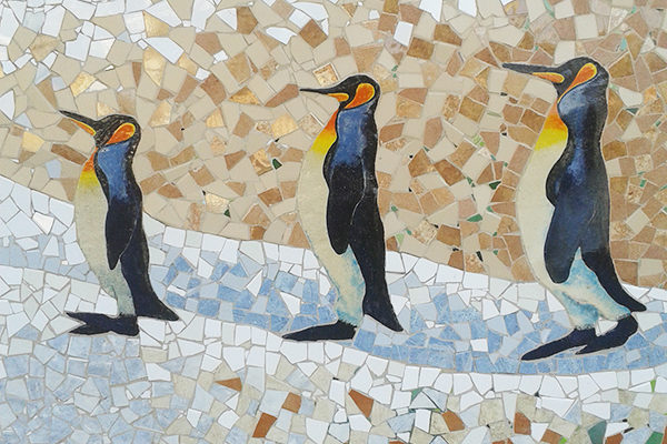 Four seasons mural, Winter, 7m x 2'60m, ceramic penguins detail,  La Miranda School, Barcelona, 2015.