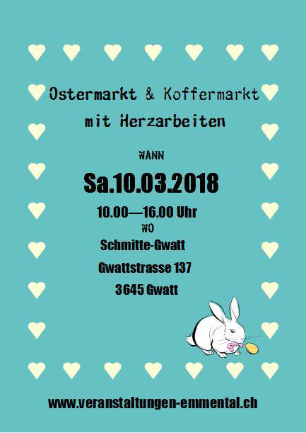 Osterkoffermarkt in der Schmitte Gwatt am 10. März 2018