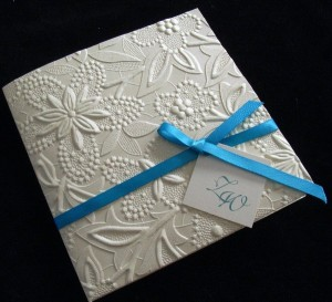 Laser Cut Embossed Fl Wedding Invitation With Ribbon Bow