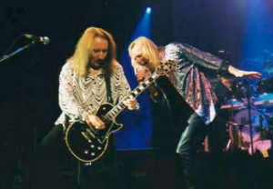 Mick Box and Bernie Shaw performing live in London.