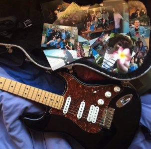 black American Standard Fender Stratocaster with tortoiseshell pickguard, white pickups/knobs and maple fingerboard
