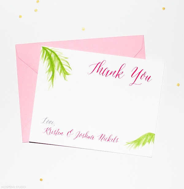 Beach Theme Thank You Cards Hand Painted Palm Tree Fronds Mospens Studio