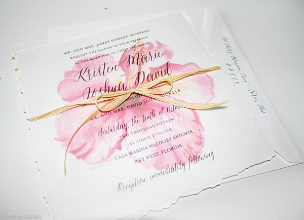 Beach Wedding Invitations Tropical Watercolor Hibiscus Mospens Studio
