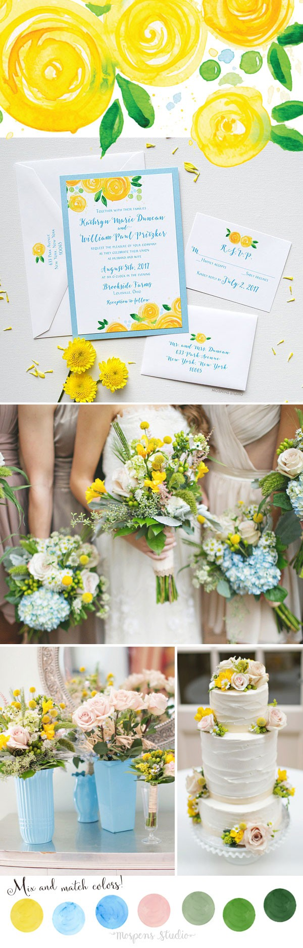 Like But I Think You 39 Ll Agree That This Is A Beautiful Shot Of The Bride With Her Bridesmaids Pale Blue Dresses Matched Yellow