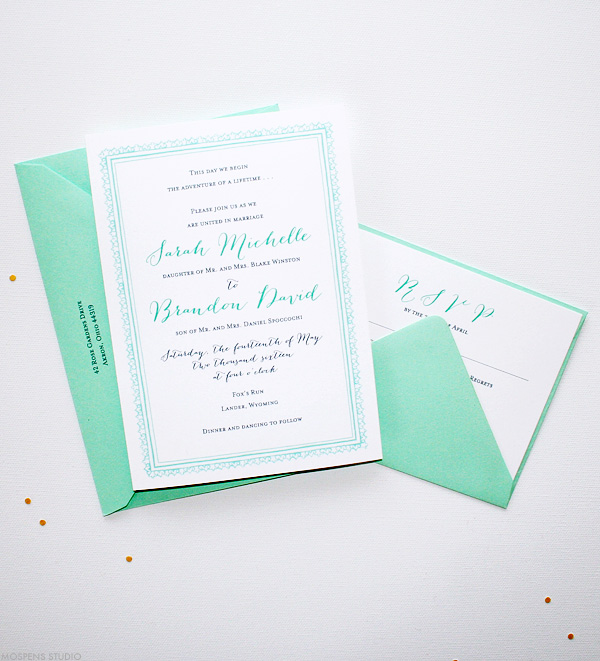 Great Monogrammed Mint Green And Gold Striped Art Deco Wedding Invite With Ivory Pink Roses