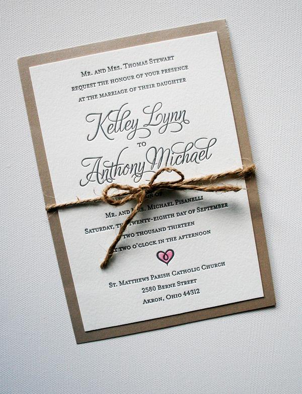 Elegant Rustic Wedding Invitations Hand Painted Heart With Watercolor Paint Mospens Studio