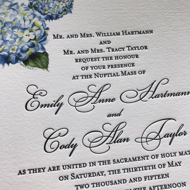 Hydrangea Letterpress Wedding Invitations