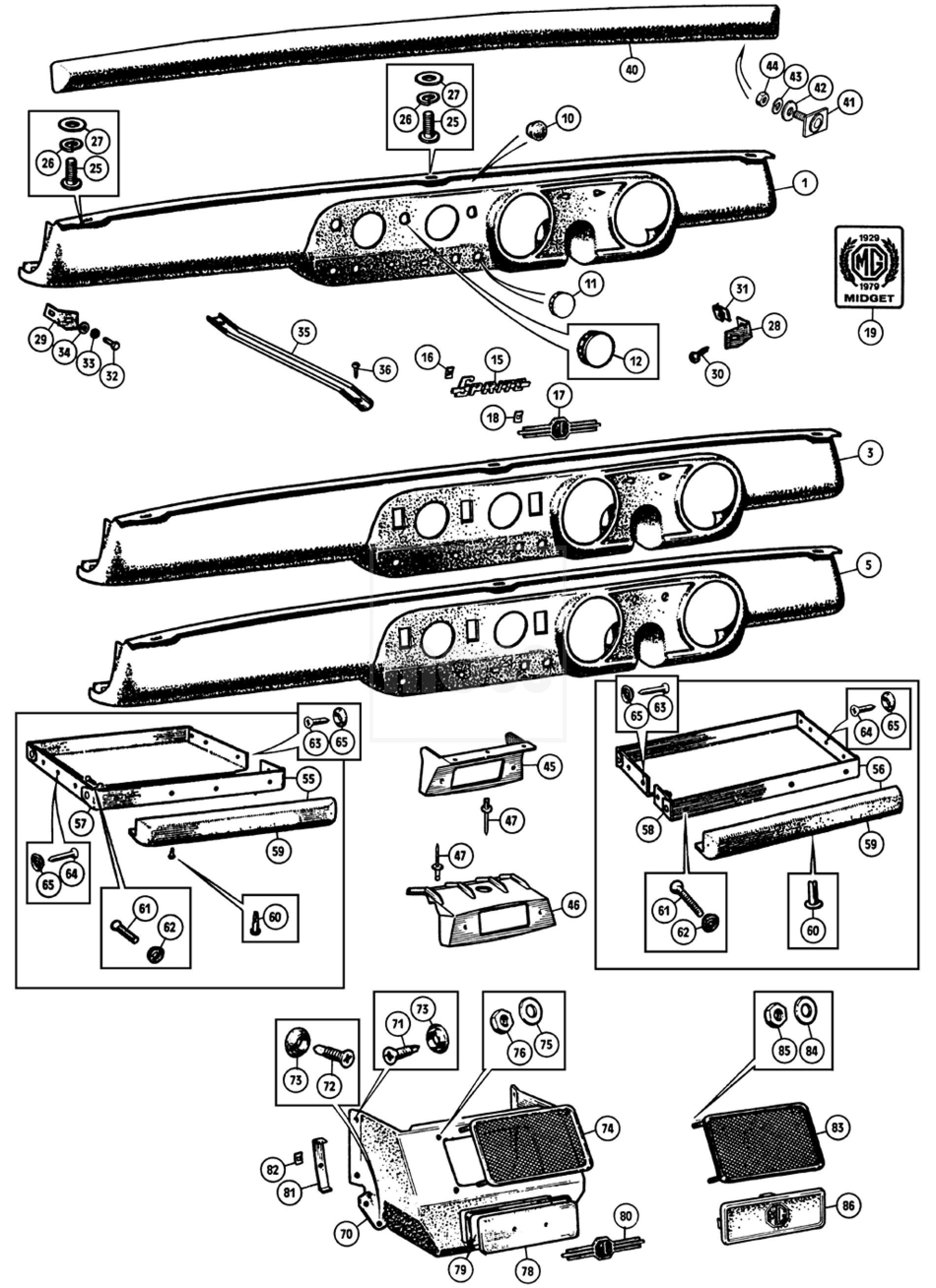 Dash Fascia Panels Sprite Amp Midget Cc