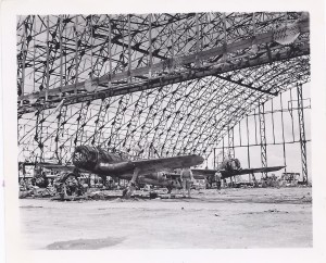 Japanese plane in hanger in Tinian, 1944