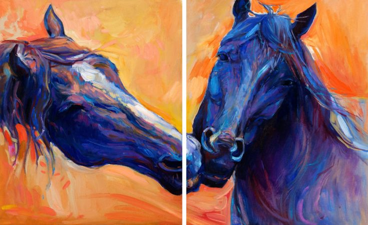 Original abstract oil painting of beautiful blue horses.Modern Impressionism.Painting is related to year 2014-year of the blue horse