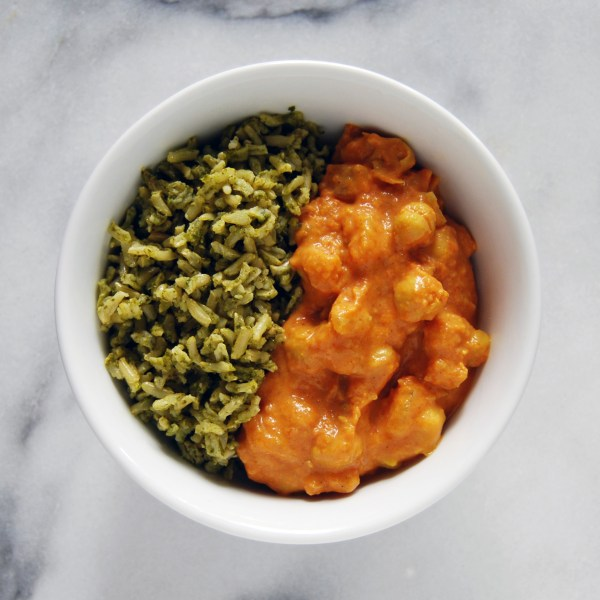 Chickpea Tikka Masala with Green Rice (recipe and review on MostlyBalanced.com)