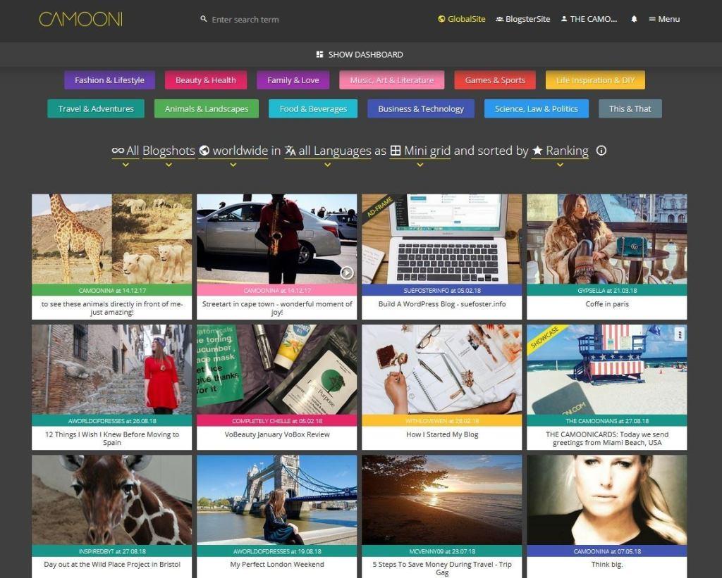 Camooni, social media aggregator