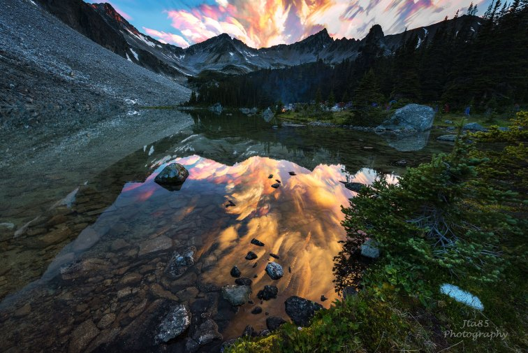 Mountains, Reflections and firey clouds No8