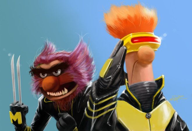 Animal & Beeker (Muppets) as Wolverine & Cyclops (X-Men)
