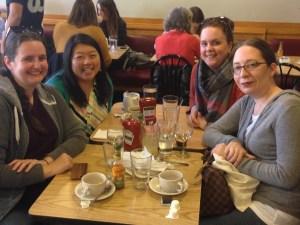 Tiff meeting Gail, Andi, and Sarah in Boston