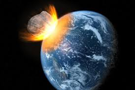Artist rendering of asteroid colliding with earth.