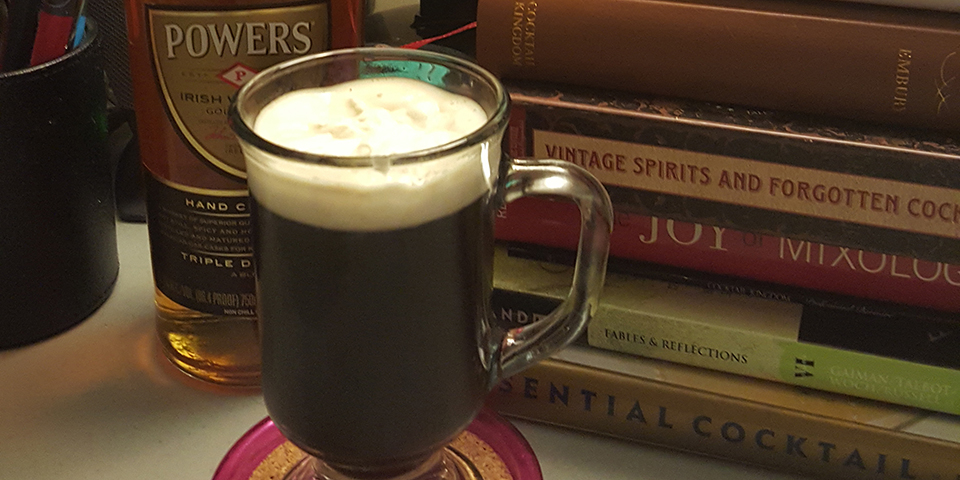 Irish Coffee in front of Books