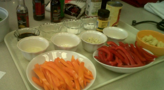Preparing for a stir fry class