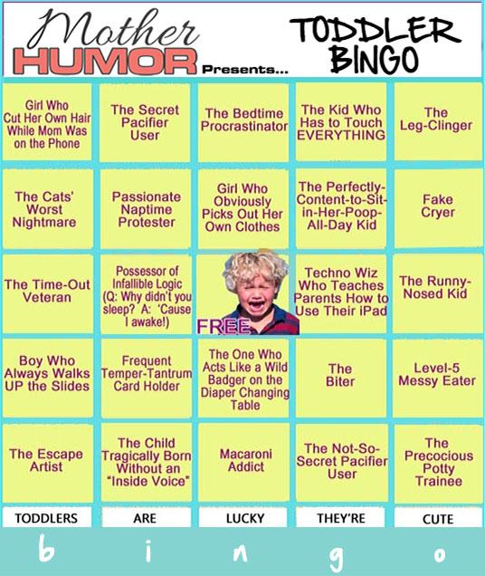 Toddler Bingo Card