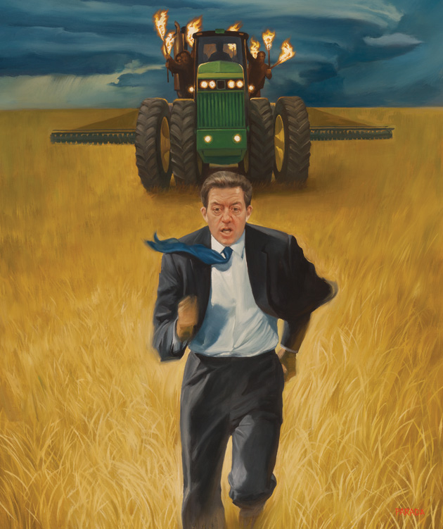 Kansas Gov. Sam Brownback meets with Kansas farmers about why the roads to get their crops to market are so bad, breaking their trucks and costing them time and money. Illustration by Roberto Parada, in Mother Jones Magazine.