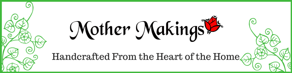 Etsy Shop Banner of Mother Makings' logo with red rose and green morning glory vines on either end.