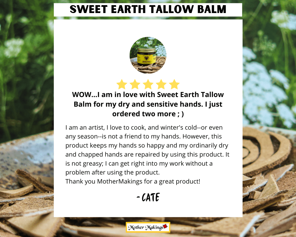 5 star review by Cate in white box overlaying photo of 2oz Sweet Earth Tallowed Touch Tallow Balm.