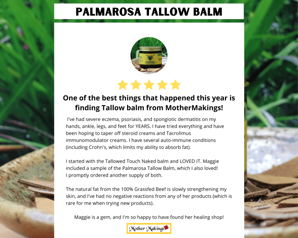 5 star review in white box overlaying photo of 2oz Palmarosa Tallowed Touch Tallow Balm.