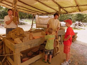 Molding bricks in Colonial Williamsburg
