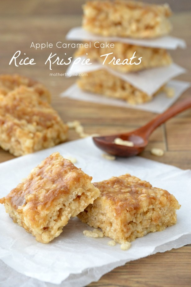 Apple Caramel Cake Rice Krispie Treats - Mother Thyme