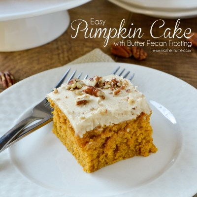 Easy Pumpkin Cake with Butter Pecan Frosting