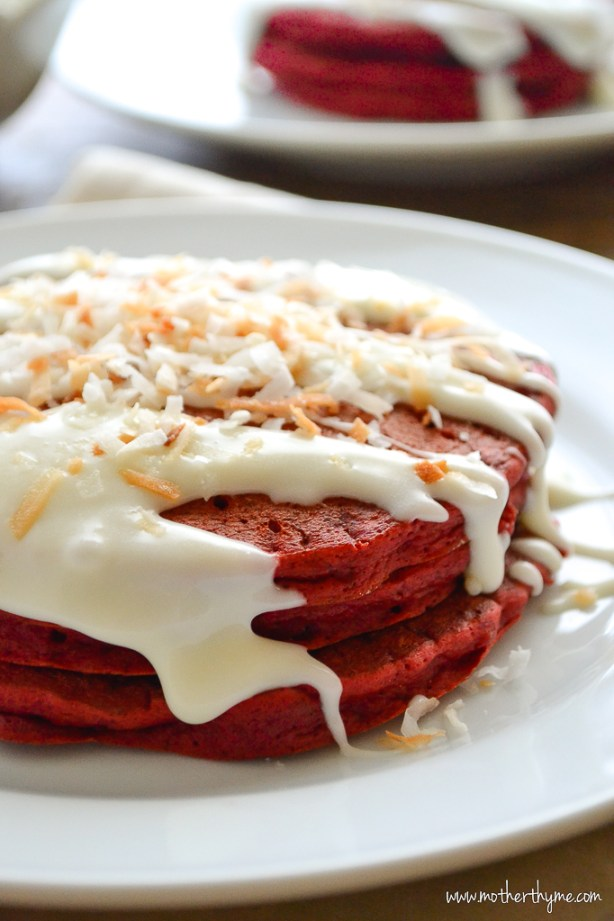 Red Velvet Pancakes with Cream Cheese Glaze | www.motherthyme.com