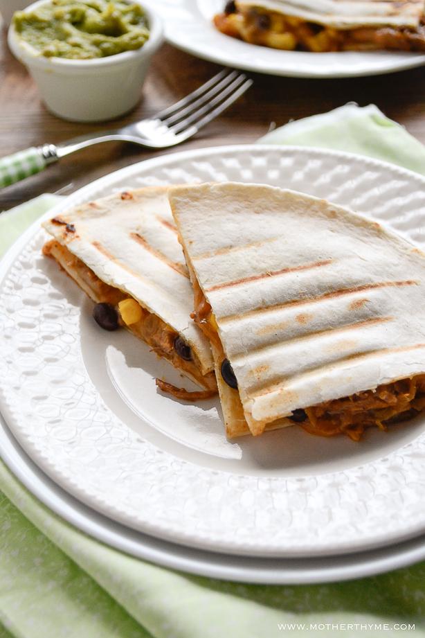 Slow Cooker Pork Carnitas Quesadilla | www.motherthyme.com