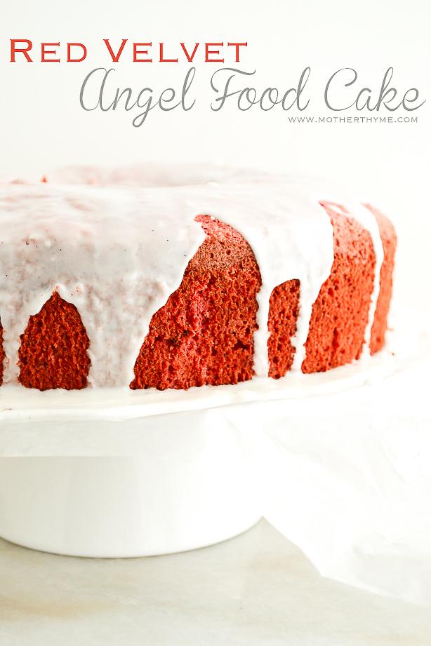 Red Velvet Angel Food Cake   www.motherthyme.com