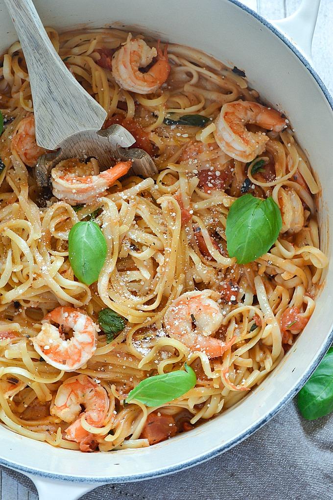 One Pot Shrimp Linguini
