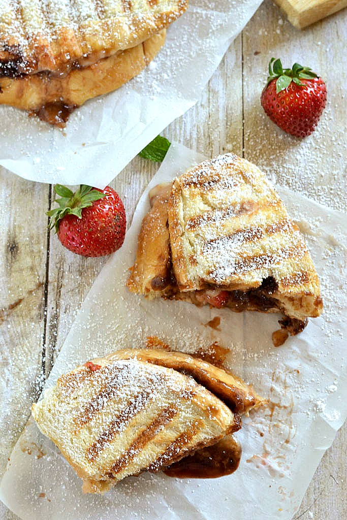 Roasted Strawberry, Brie and Nutella Grilled Chese