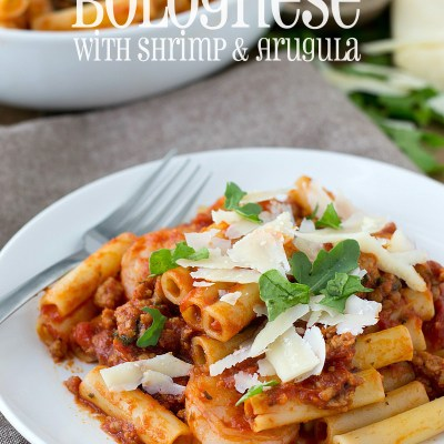 Easy Italian Sausage Bolognese with Shrimp and Arugula