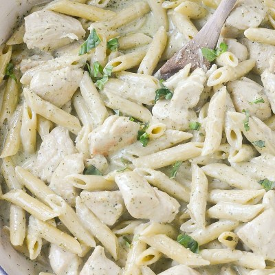 One-Pot Creamy Pesto Chicken Penne Pasta