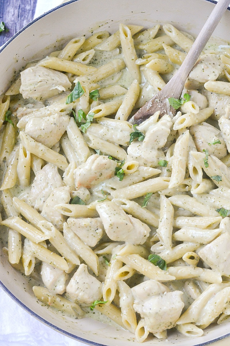 One-Pot Creamy Pesto Chicken Penne Pasta | www.motherthyme.com