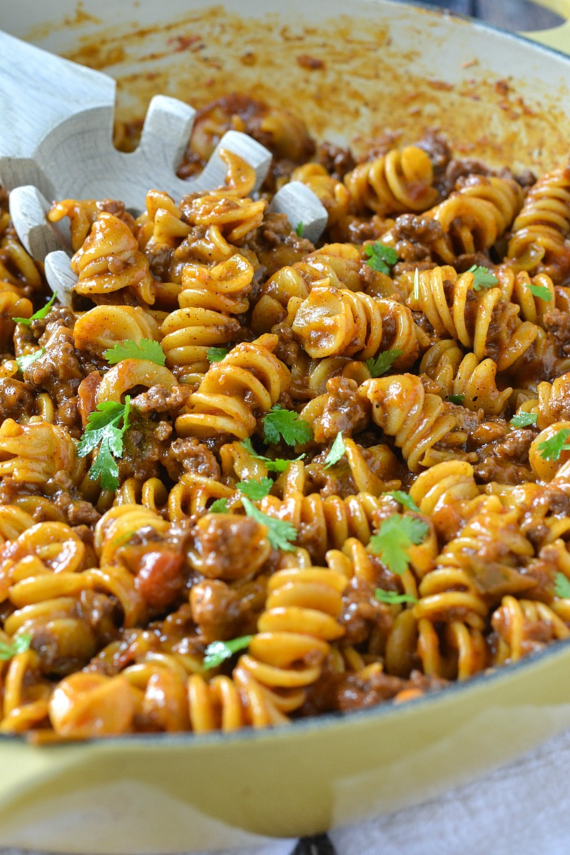 One-Pot Cheesy Taco Pasta |www.motherthyme.com