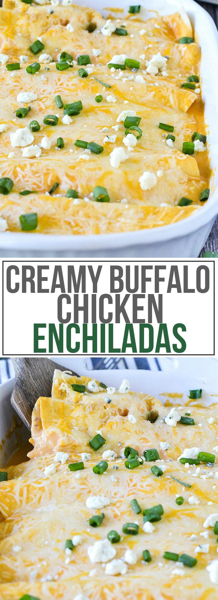 Creamy Buffalo Chicken Enchiladas   www.motherthyme.com