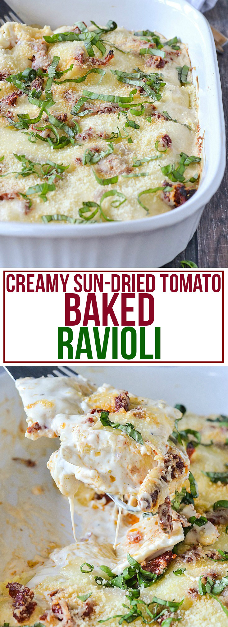 Creamy Sun-Dried Tomato Baked Ravioli from www.motherthyme.com